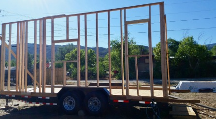 The first wall has been framed.