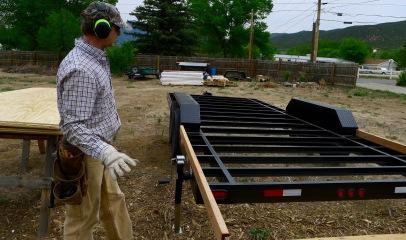 Brad beginning the deck framing.