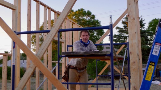 Brad taking a break from framing the second wall.