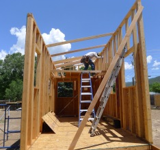 Interior view while installing the OSB panels.